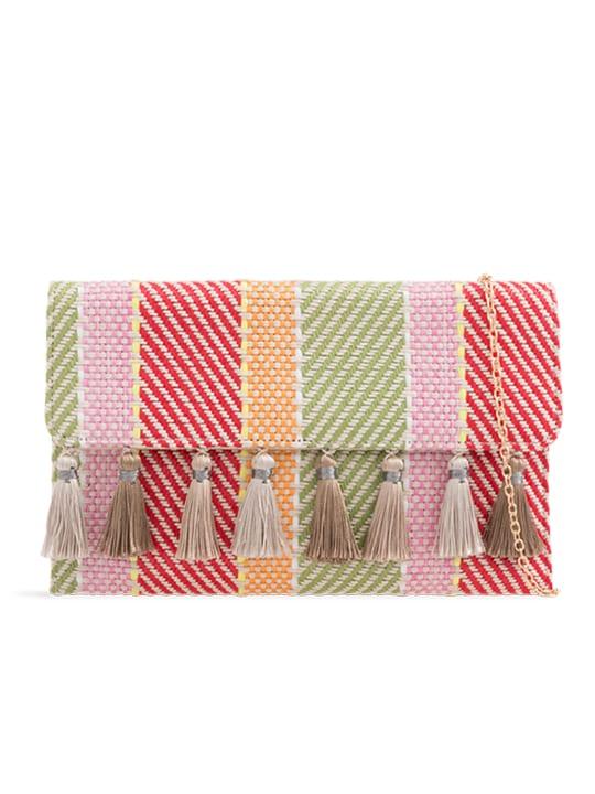 Woven Tassel Foldover Clutch