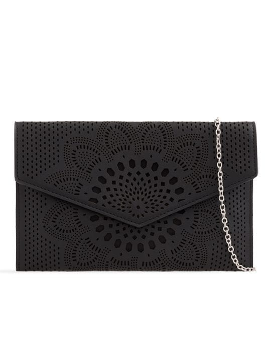 Black Laser Cut Envelope Clutch