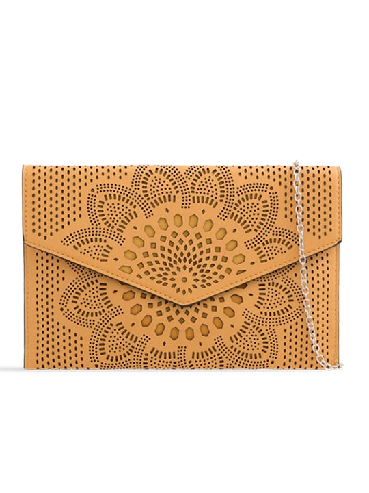 Yellow Laser Cut Envelope Clutch