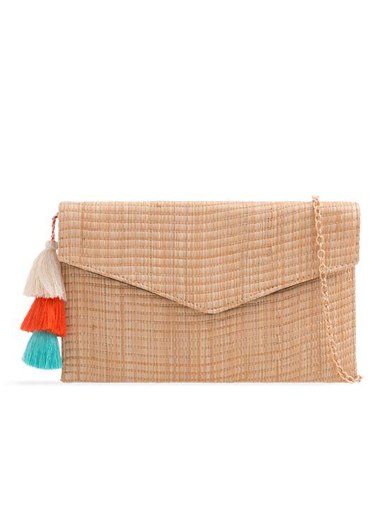 Beige Woven Tassel Clutch Bag