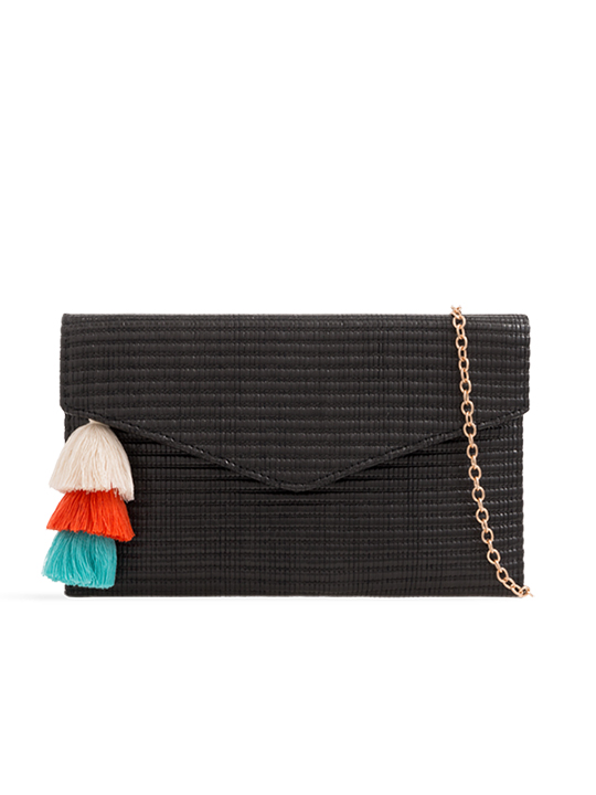 Black Woven Tassel Clutch Bag
