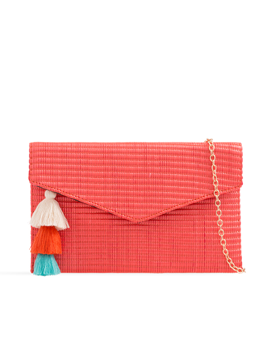 Orange Woven Tassel Clutch Bag