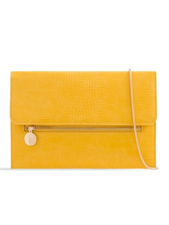 Yellow Faux Snakeskin Foldover Clutch