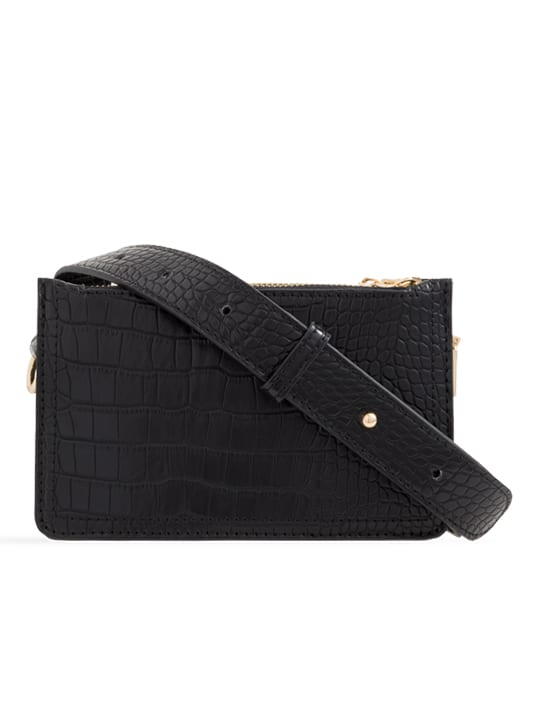 Black Faux Snakeskin Mini Bag