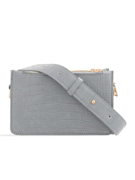 Grey Faux Snakeskin Mini Bag