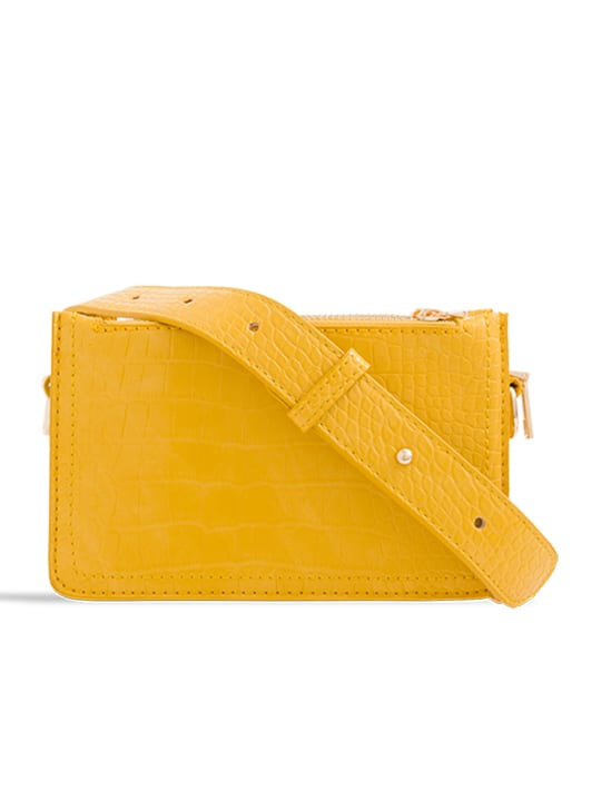 Yellow Faux Snakeskin Mini Bag