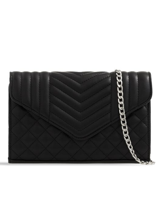 Black Quilted Soft Faux Leather Clutch Bag