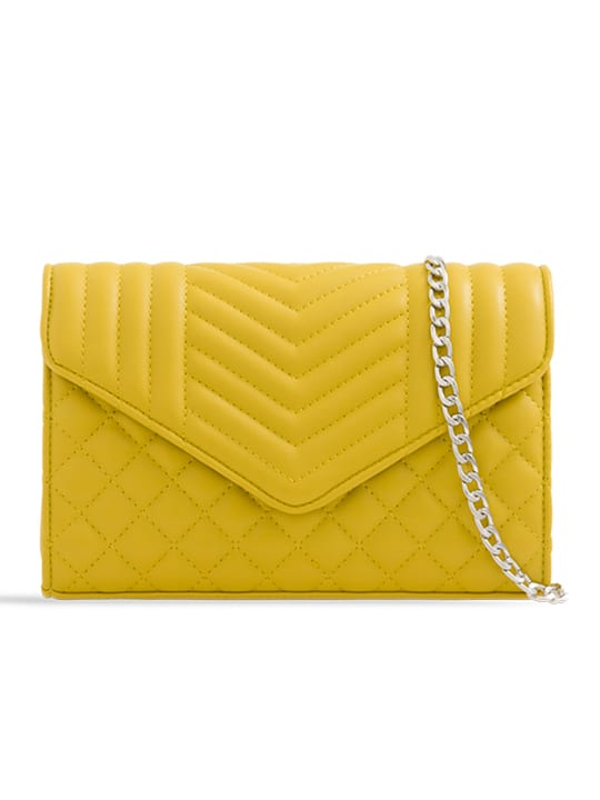 Yellow Quilted Soft Faux Leather Clutch Bag