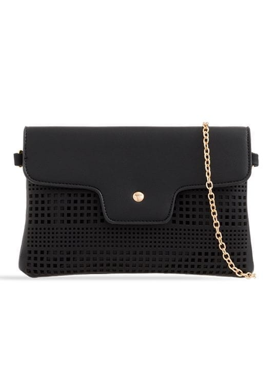 Black Laser Cut Foldover Chain Clutch