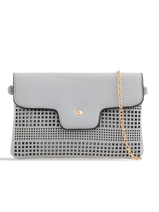 grey laser cut foldover chain clutch