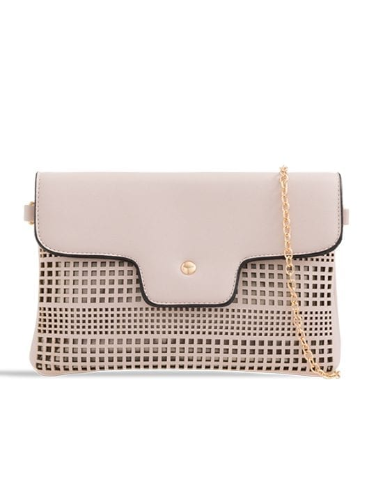 front of Nude Laser Cut Foldover Chain Clutch