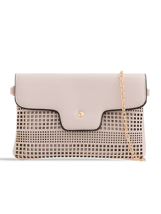 Nude Laser Cut Foldover Chain Clutch
