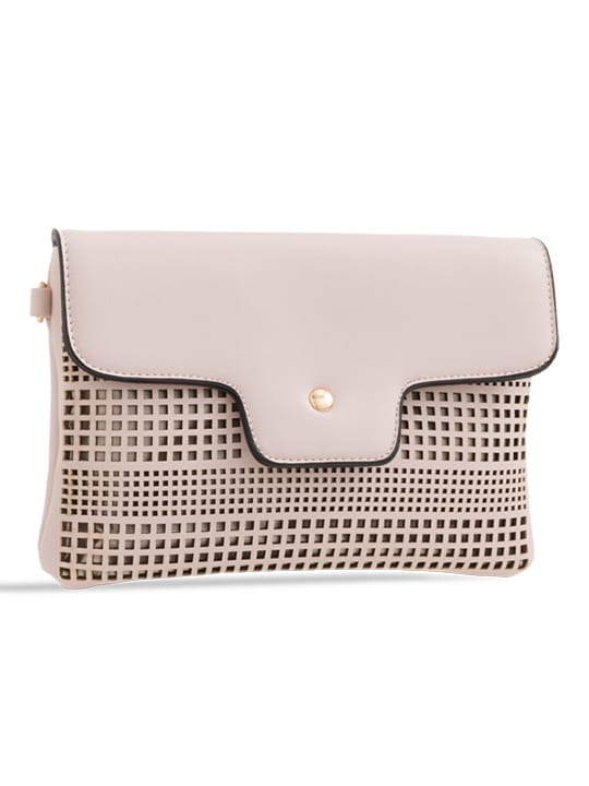 side photo of Nude Laser Cut Foldover Chain Clutch