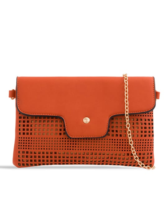 Orange Laser Cut Foldover Chain Clutch