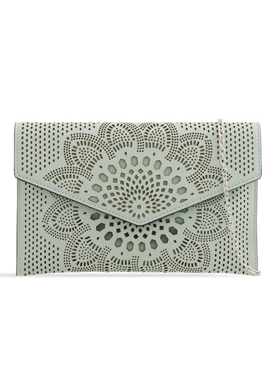 Mint Laser Cut Envelope Clutch