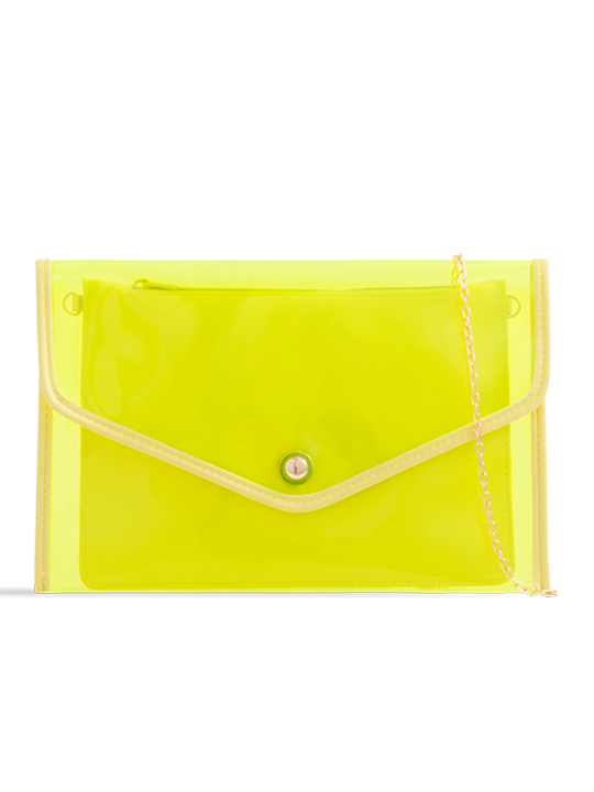 Clear Neon Yellow Clutch Bag with Contrast Purse