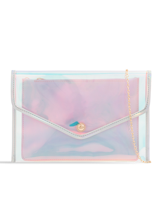 Holographic Clear Clutch Bag with Contrast Purse