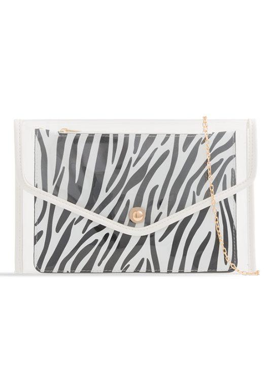 Clear Clutch Bag with Contrast Zebra Print Purse