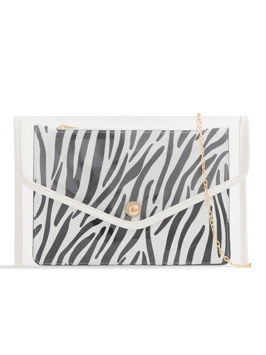 Clear Clutch Bag with Contrast Zebra Print Purse