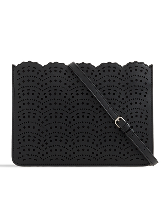 Black Faux Leather Laser Cut Zipper Clutch
