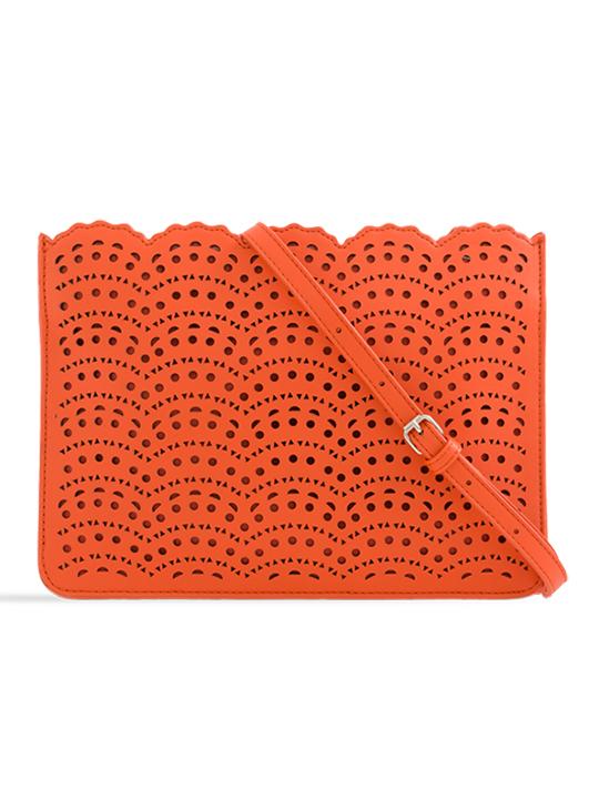 Orange Faux Leather Laser Cut Zipper Clutch