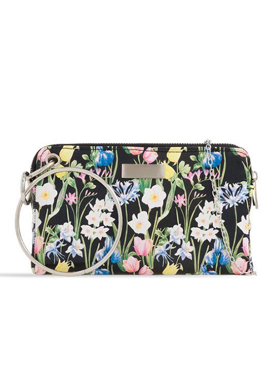 Black Floral Clutch Bag
