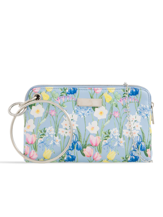Blue Floral Clutch Bag