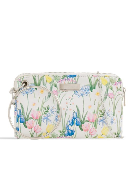White Floral Clutch Bag