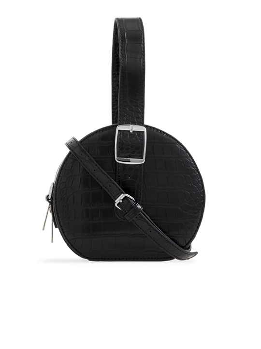 Black Round Faux Crocodile Crossbody Bag