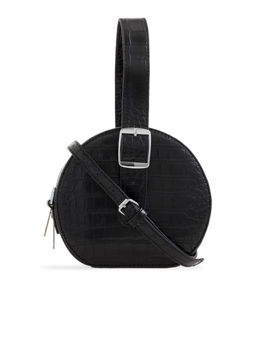 Black Round Faux Crocodile Crossbody Bag