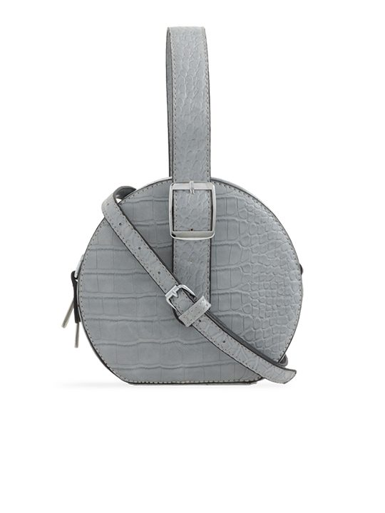 Grey Round Faux Crocodile Crossbody Bag
