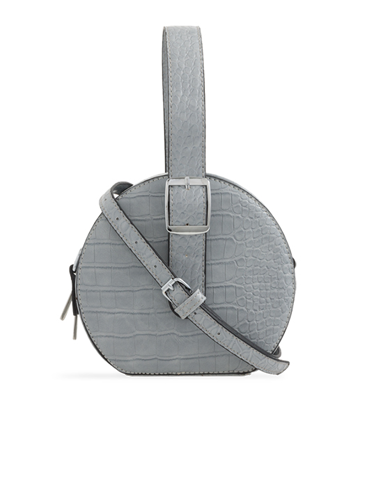 4d9538ab5c Grey Round Faux Crocodile Crossbody Bag