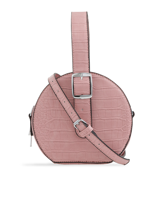 Nude Round Faux Crocodile Crossbody Bag