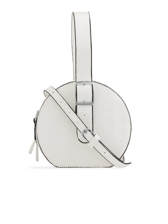 White Round Faux Crocodile Crossbody Bag