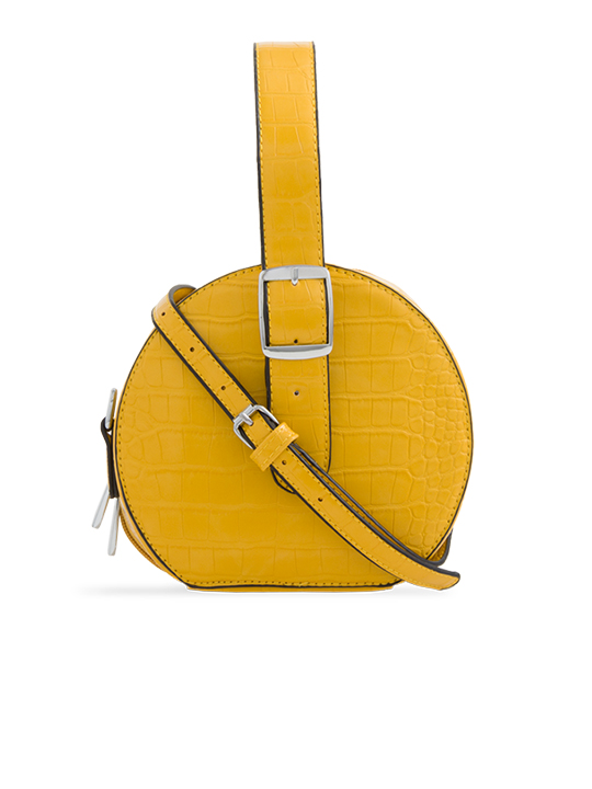 Yellow Round Faux Crocodile Crossbody Bag