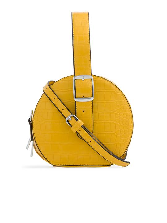Yellow Round Faux Crocodile Crossbody Bag