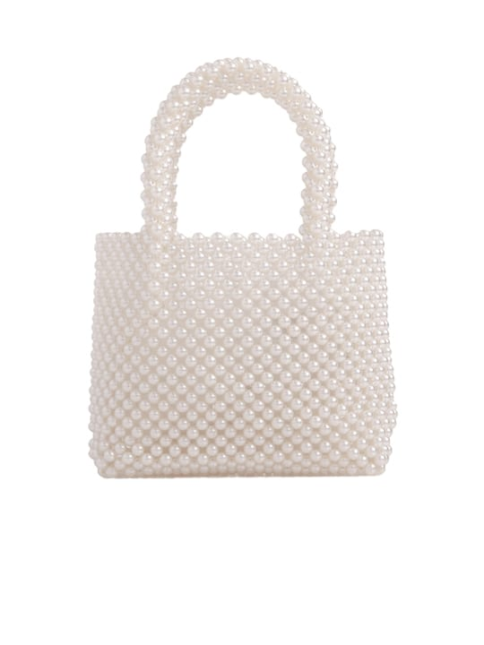 Ivory Faux Pearl Beaded Bag