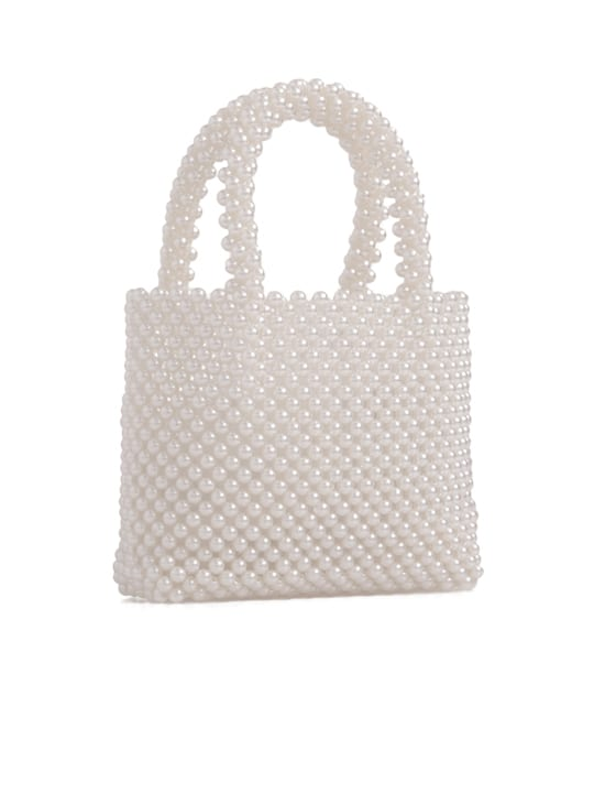 Ivory Faux Pearl Beaded Bag Side Photo