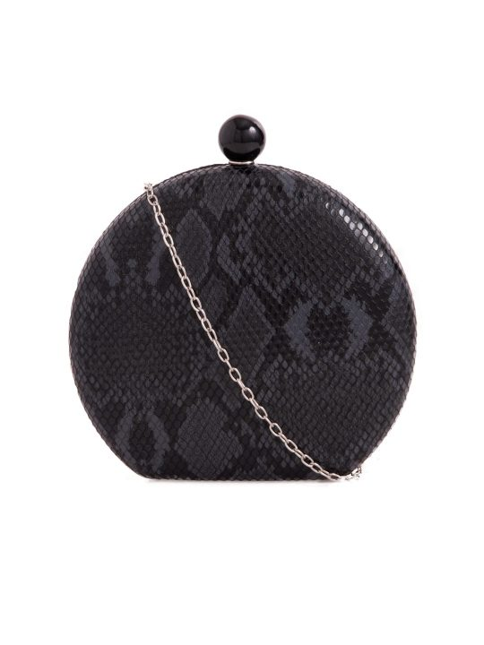 Black Hard Compact Faux Snakeskin Clutch