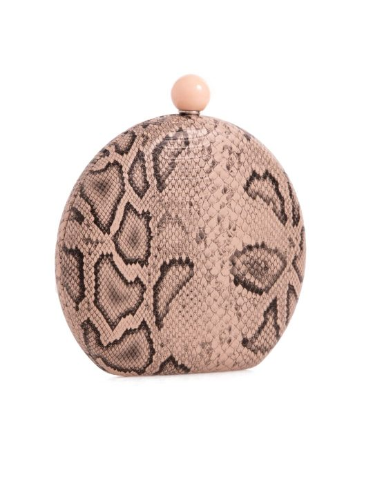 Nude Hard Compact Faux Snakeskin Clutch side