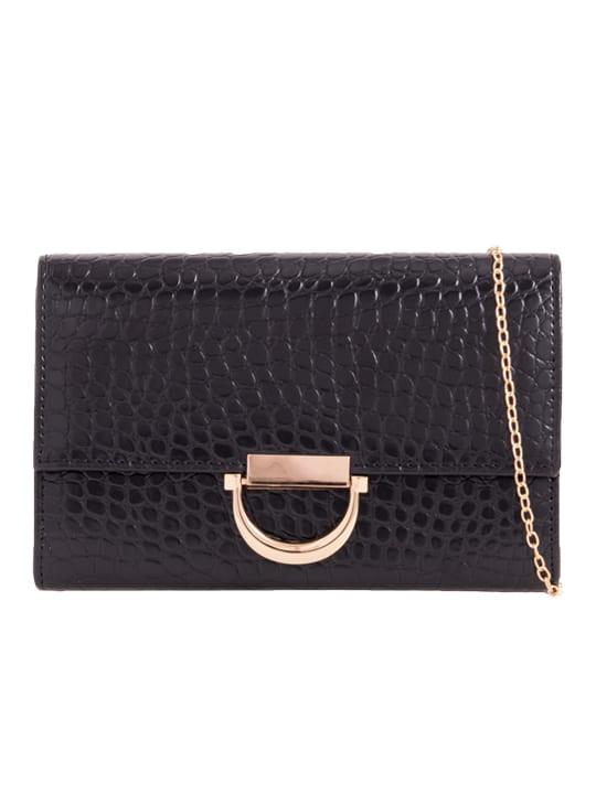 Black Faux Crocodile Skin Clutch front