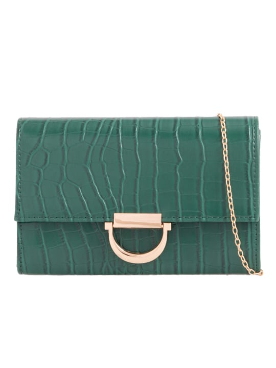 Green Faux Crocodile Skin Clutch