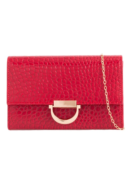 Red Faux Crocodile Skin Clutch