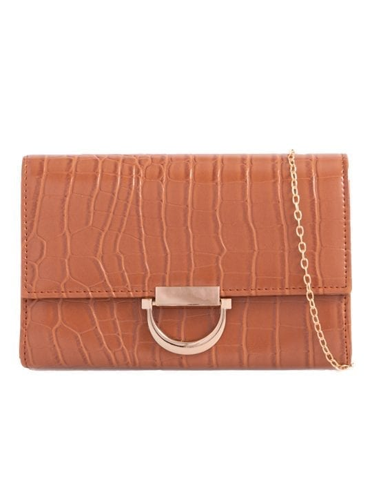 Brown Faux Crocodile Skin Clutch