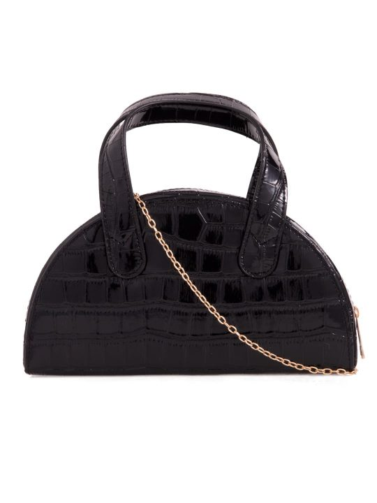 Black Faux Croc Top Handle Bag