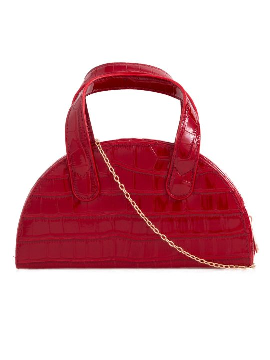 Red Faux Croc Top Handle Bag