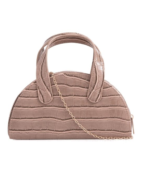 Nude Faux Croc Top Handle Bag