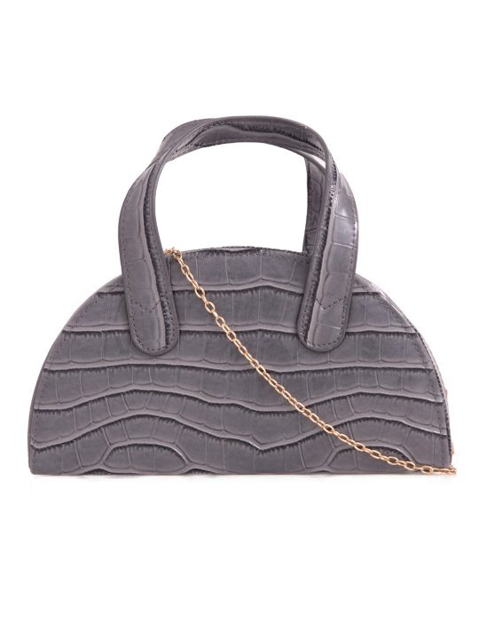 Grey Faux Croc Top Handle Bag