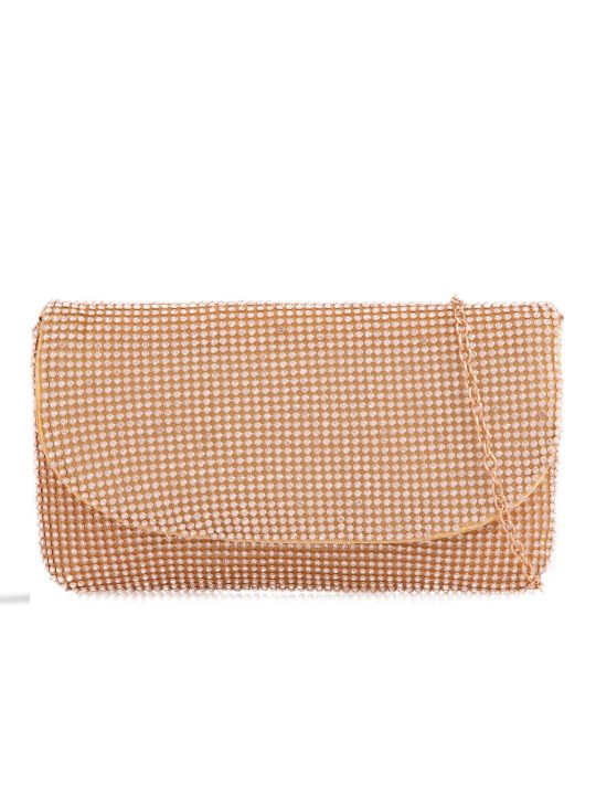 Gold Diamante Foldover Clutch Bag