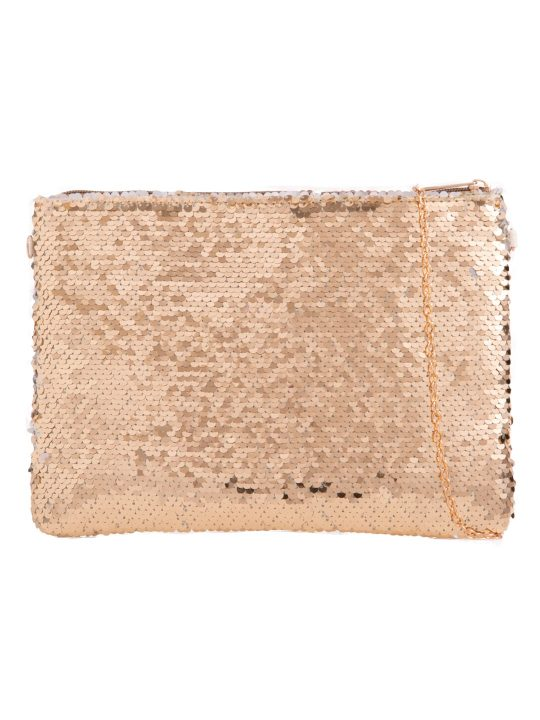 Gold Reversible Sequin Zip Top Clutch